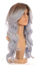 Long Rooted Celebrity Ombre Wavy Wig   Blue, Purple and Green Wavy Wig