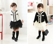 Hot Sale Kids Toddler Girls Clothing Party Coat Jacket Skirt Outfits Sets Sz2-7Y