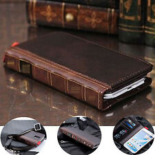 Retro Genuine Leather Flip Wallet Stand Case For Samsung Galaxy S3/4/5 Note2/3/4