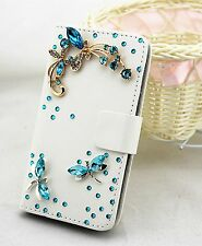 Bling Dragonfly Wallet Card Holder PU Leather Phone Flip Case Cover For Nokia