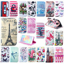 Cute Flower Butterfly Pattern Leather Flip Stand Card Slot Skin Soft Case Cover