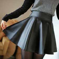 Women Faux Leather High Waist Skater Flared Pleated Short Mini Skirt Perfect