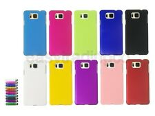 Hard Rubberized Back Cover Case Samsung Galaxy Alpha + Screen Protector + Stylus