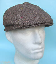 Flat Cap 8 Panel News Boy Baker Boy Gatsby Plain Brown Tan Beige Tweed Pattern