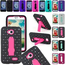 For LG Ultimate 2 / L41C Diamond Kickstand Case Hybrid Hard Skin Phone Cover