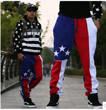 Mens loose cotton blend sports pants Stars and Stripes flag edition trousers