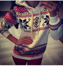 Winter Warm Cute Women hoodie christmas Jumper sweater sweatshirt Tops 8-16