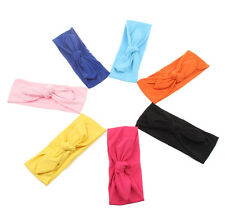 Baby Girls Kids Elastic Stretch Plain Rabbit Bow Style Hair Band Headband Turban