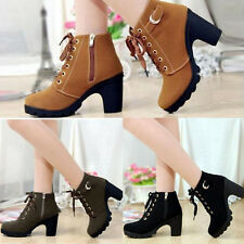 Womens High Chunky Heels Platform Cleated Sole Lace Up Martin Zipper Ankle Boots