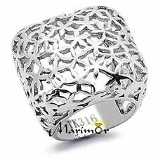STAINLESS STEEL 316 HIGH POLISHED 25mm WIDE SQUARE FASHION RING WOMEN'S SZ 5-10