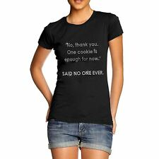 Women Cotton Rhinestone Funny Message One Cookie Is Enough T-Shirt