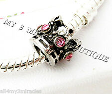Crown Bead Princess Pink Crystal Silver Bling Fairy Queen Pageant Christmas Gift