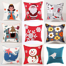 Xmas Santa Flag Home Sofa Car Decoration Pillow Chair Cushion Pillow CASE+Inner