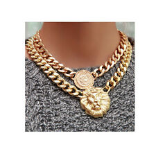 Lion Queen Head Pendant Gold Flat Chain Statement Choker Chunky Necklace 2015