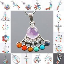 Nice 7 Mix Stone Healing Gemstone Point Bead Pendant Fit Necklace Jewelry Gift