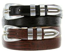 "Vincente Italian Calfskin Genuine Leather Designer Dress Belts, 1-1/8"" Wide"