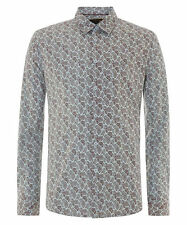 MENS MERC LONDON PAISLEY FASHION SHIRT STYLE YORK - SKY BLUE