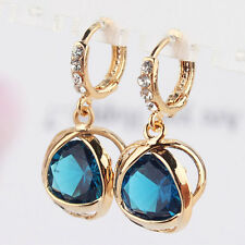 In 11 Styles Women 9k Gold Filled Austrian Crystal Hoop Earrings Jewelry