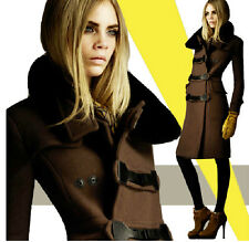 Womens Punk Woolen Winter Hooded Trench Fashion Luxury Warm New Coats Jackets