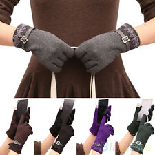 Good Quality Ladies Touch Screen Winter Warm Mittens Weaved Knit Wrist Gloves