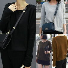 Womens Sexy Long Sleeve Loose T Shirt Tops Blouse Solid Crewneck Knitwear Shirts