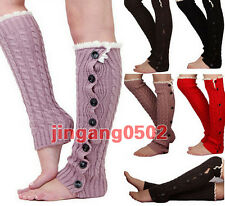 NEW Women Crochet Knit Button Leg Warmers girl Lace Trim Toppers Boot Socks Cuff