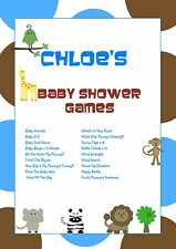 Shower Games on CD | Blue Animals | Personalised Baby Shower Games | Favour Tags