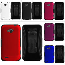 For ZTE Savvy Z750c Kombo 3 in 1 Rubberized Case Cover +Belt Clip Holster+Screen