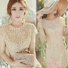 Womens Crochet Lace Beaded Wedding Bridesmaid Club Evening Party Gown Mini Dress