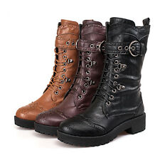 Womens Lace Up Buckle Riding Punk Low Heel Side Zip Mid Calf Boots Shoes Plus Sz