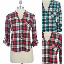 Plaid Cropped Button Down Shirt with Roll Up Sleeve Chest Pocket Cotton S M L