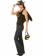 Ladies Adult Batgirl Top with Cape Fancy Dress Costume Womens Outfit