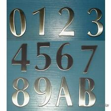 SELF ADHESIVE HOUSE MAIL BOX NUMBER BUSINESS NUMBER BRUSHED STAINLESS STEEL 60MM