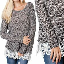 Mesh Knit Long Sleeve Round Neck Top with Lace Bottom Trim Comfy Stylish S M L