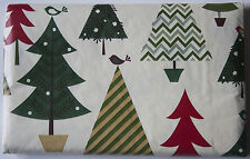 ASSORTED SIZES Vinyl Christmas Tablecloth FOLK ART Trees Holiday Flannel Backing