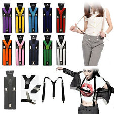 New Colorful Clip-on Plain Suspenders Elastic Y-Shape Adjustable Braces Free USA