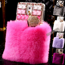Warm RealFur Bling Fox Crystal Back Case Cover for Samsung Galaxy S4 S5 Note 3 4