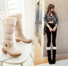 Winter snow warm boots womens mid calf boots pull on fur lined chunky low heel
