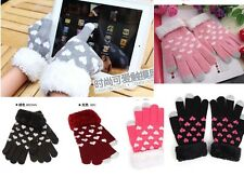 Magic Touch Screen Heart Pattern Gloves Smartphone Texting Stretch  Winter Knit