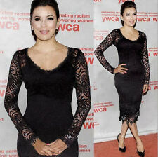 New Sexy Women's Long Sleeve Lace Slim Bodycon Dress Formal Party Gown Dress