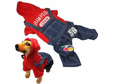 Dog Hat Overalls Pet Winter Warm Overcoat Puppy Hoodies Clothes with Four Legs