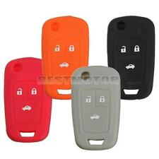 3 Button Silicone Key Case Shell Fob Holder Protector Cover For Chevrolet Cruze