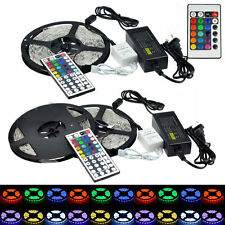 5M/10M 3528 5050 RGB SMD Flexible 300/600 LED Strip Light+ Remote+ Power Adapter