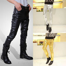 Men's Fashion New Casual Slim Fit Skinny PU Faux Leather Jeans Trousers Pants ui