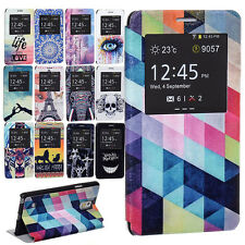 Rough Leather S View Window Flip Hold Cover Case for Samsung Galaxy Note 4 N9100