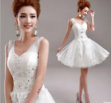 New womens Korean Princess Bride bridesmaid v-neck lace wedding dress short Mini