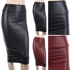 Faux Leather Midi Skirt Straight Pencil Fitted Sexy Knee Length S M L