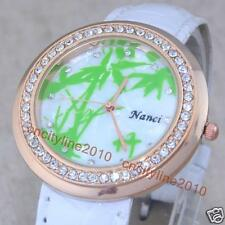"New Chinese Character ""Bamboo""Diamond Leather Band Women Girl Quartz Wrist Watch"