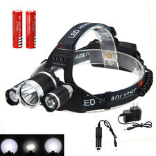 5000Lm 3xCREE XM-L T6+2R5 LED Cabeza Linterna Luz Frontal LÁMPARA Headlamp 18650