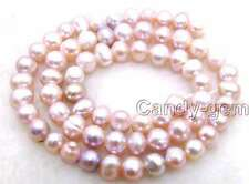 "SALE small 6-7mm natural Purple Freshwater Pearl Loose Beads 14""-los620"